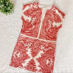 MADEWELL RED PAISLEY TUNIC DRESS SIZE XS